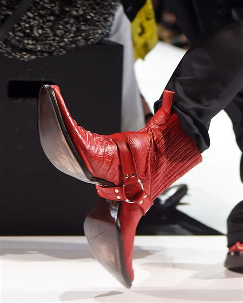 faced cowboy boots strut the runway for
