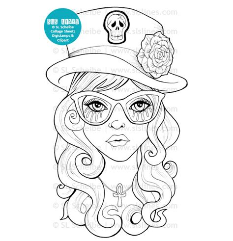 coloring book for goths digital st with top hat digist