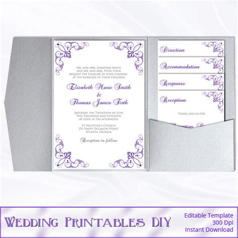 pocketfold wedding invitation template pocketfold wedding invitation template diy purple and silver