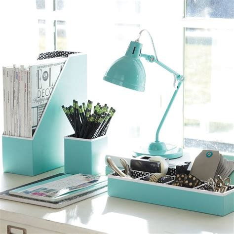 Decorative Home Office Accessories | preppy paper desk accessories solid pool contemporary