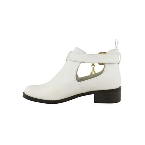 white flat ankle boots with tassel detail parisia