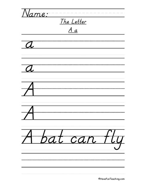 printable handwriting worksheets d nealian letter a handwriting practice d nealian have fun teaching
