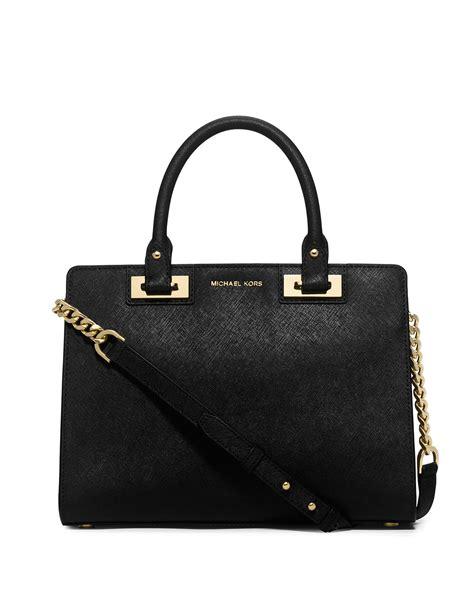 Michael Kors Satchel Bag lyst michael michael kors quinn medium saffiano satchel bag in black