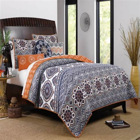 orange and grey comforter sets moroccan vintage medallion grey orange cotton quilt set