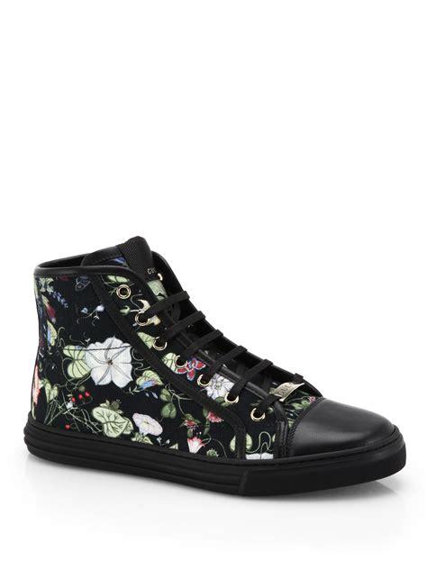 gucci california high top sneakers lyst gucci california floral high top sneakers in black