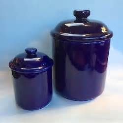 set of two vintage cobalt blue ceramic pottery kitchen