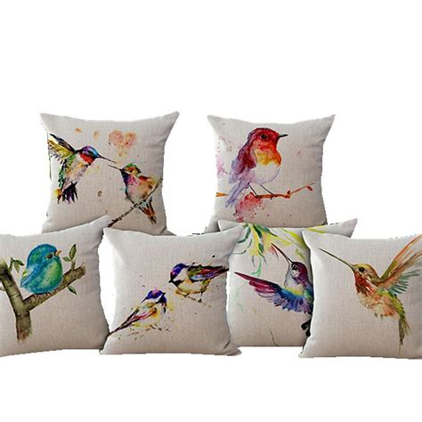 watercolor bird decorative linen cotton pillow cushion