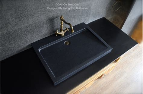 700mm Black Granite Stone Single Trough Bathroom Basin