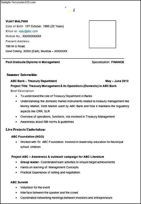 Mba Finance by Mba Finance Resume Exle With Free Template
