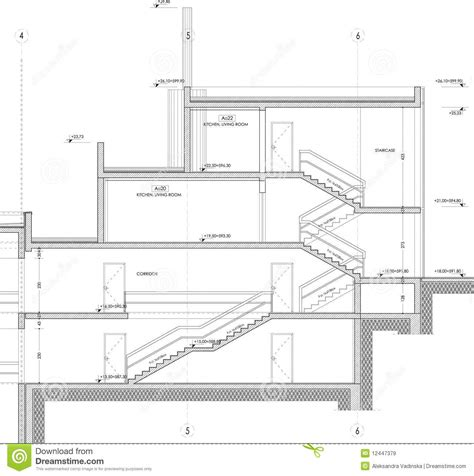 section of a building section building drawing royalty free stock images image