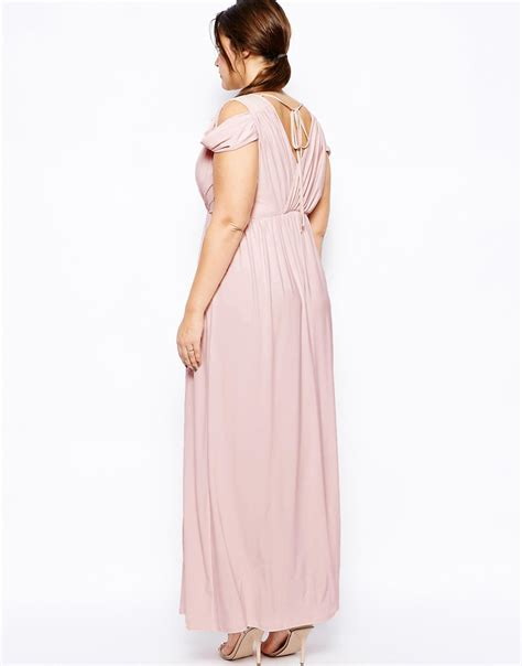 Bw0051 Maxi Dress Pink asos wrap front maxi dress in pink lyst