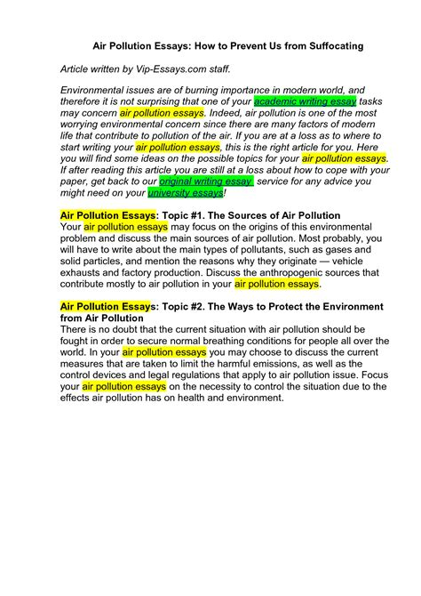Essay Type Of Pollution by 1000 Words Essay On Environmental Pollution Bamboodownunder