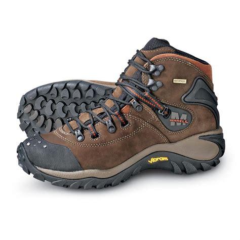 mens brown hiking boots s merrell 174 phaser peak waterproof hikers brown