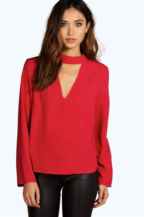 red blouses for women boohoo una open choker neck detail long sleeve blouse in