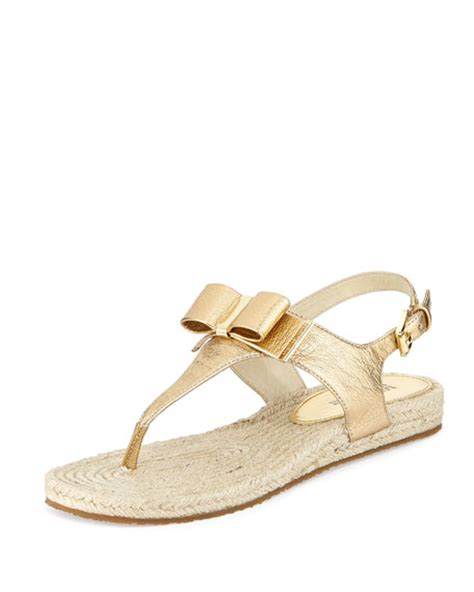 michael kors meg sandals michael michael kors meg metallic leather bow sandal pale