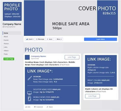 facebook cover layout size facebook cheat sheet all sizes and dimensions 2017