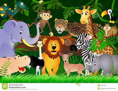 Wallpaper Craft Animals | cute animal cartoon in the jungle stock image image