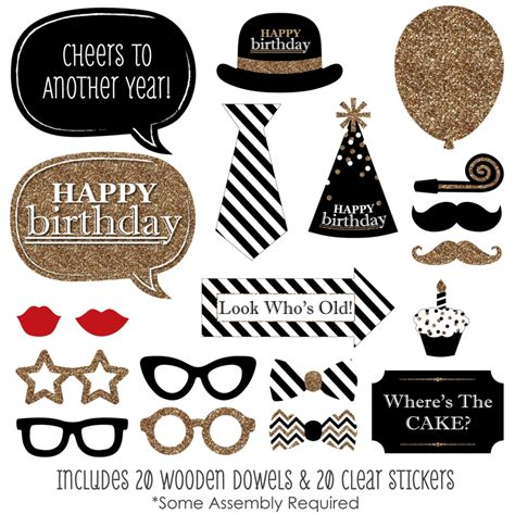 free printable photo booth props 50th birthday adult happy birthday gold photo booth props kit 20