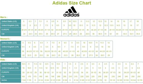 Adidas Shoe Size Guide Us by Adidas Size Chart