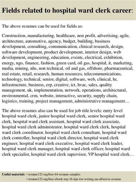 Hospital Ward Clerk Sle Resume Top 8 Hospital Ward Clerk Resume Sles