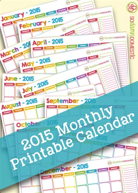 printable 2015 monthly calendar template monthly calendar 2015 printable calendar template 2016
