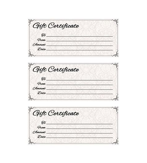 free printable gift certificate template free printable gift