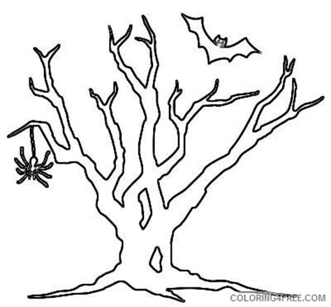 spooky tree coloring page spider bat tree http www wpclipart com holiday halloween