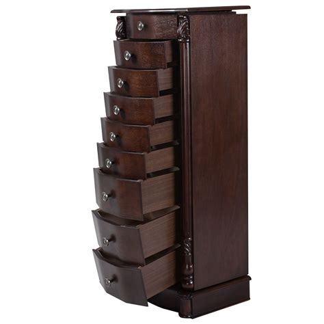 Jewelry Storage Cabinet Convenience Boutique Armoire Jewelry Wood Storage Organizer Cabinet Stand