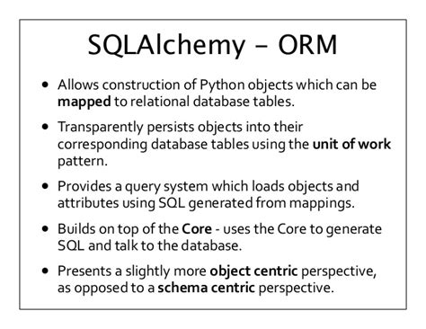 sqlalchemy tutorial query michael bayer introduction to sqlalchemy postgres open