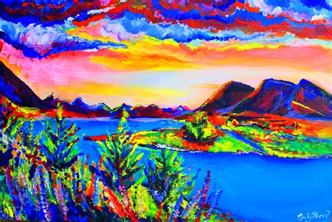 colorful painting vibrant and colourful mountain painting my creative journey