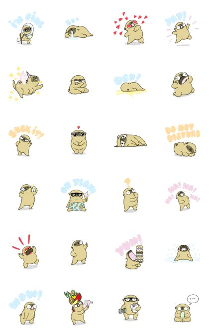 mochi the pug stickers line creators stickers mochi the pug from 157ofgemma