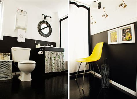 black white yellow black white and yellow bathroom make over
