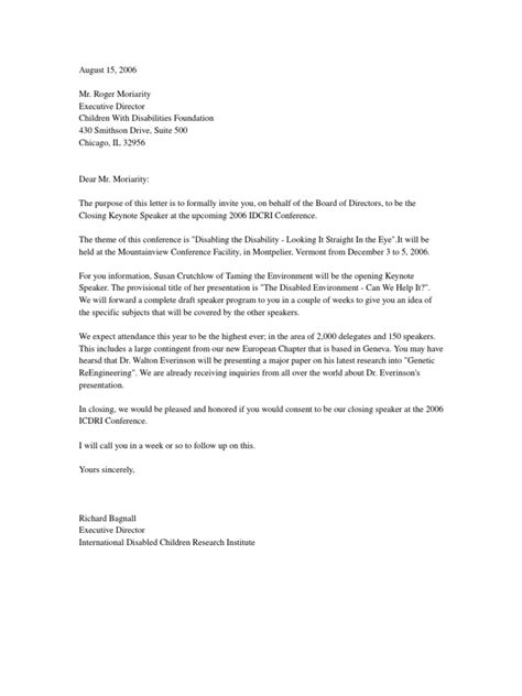 Letter Of Invitation For Speaker At Conference Invitation Letter Invite Conference Speaker