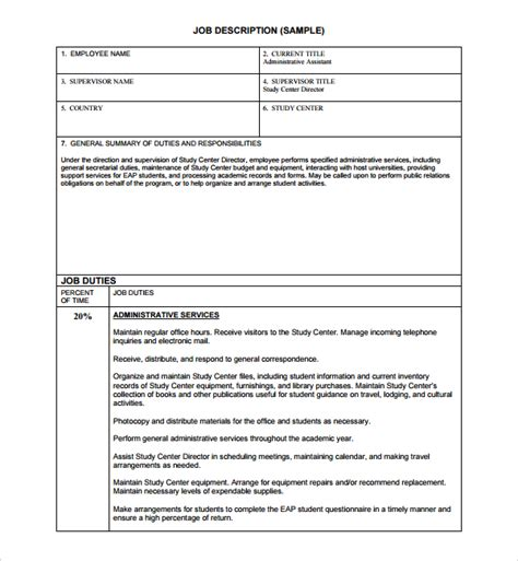 descriptions template sle description template 9 free documents