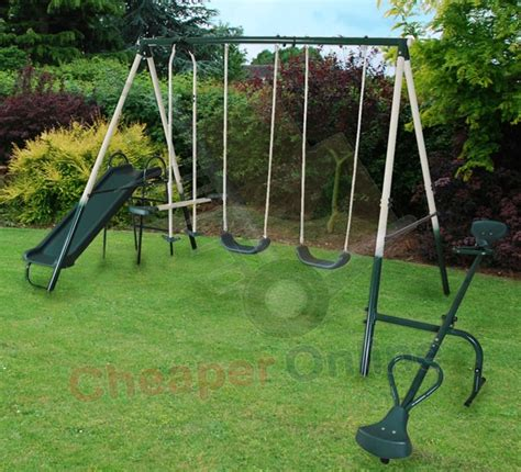 swings and slides for small gardens kingfisher childrens kids garden swings seesaw slide