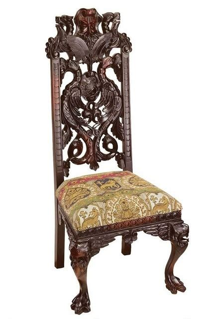 Jacobean Dining Room Set by Hand Carved Solid Mahogany Antique Replica Manor Chair