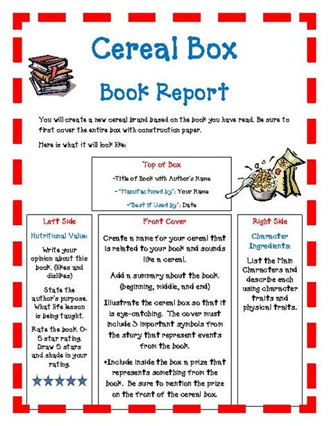 Cereal Box Book Report Template Document Sle