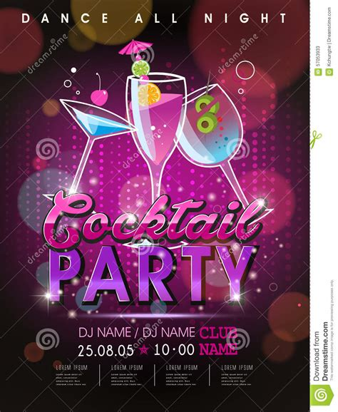 design poster party fantastic cocktail party poster design stock vector