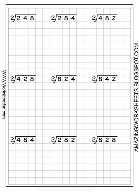 printable graph paper for division long division printable worksheets on graph paper to