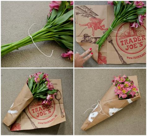 How To Make Flowers Out Of Wrapping Paper - trader joe s bag challenge project 7 wrapped flowers