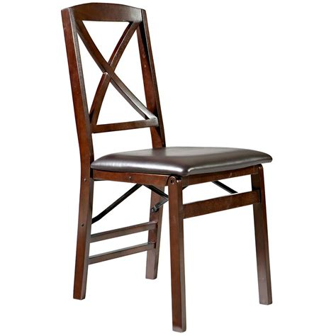 Folding Chair by Linon Triena X Back Wood Folding Chair W Upholstered