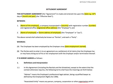 settlement agreement template uk template agreements and