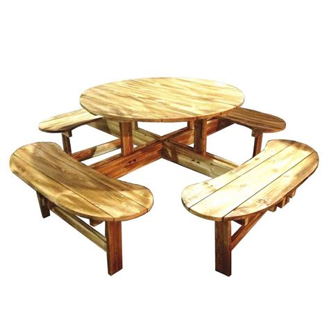 wooden table with bench seats greenfingers allinone wooden round 111cm picnic table