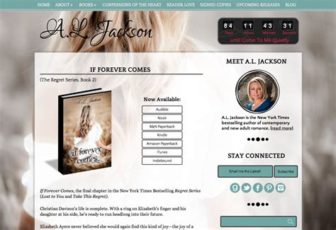 Beautiful Author Website Design For A L Jackson By Priceless Design Author Website Template