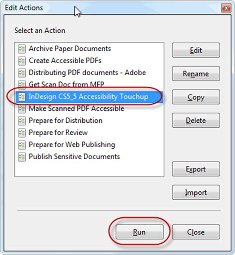 creating accessible indesign documents action wizard for pdfs