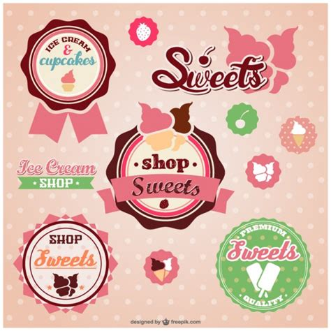 cute sweets badges vector free download
