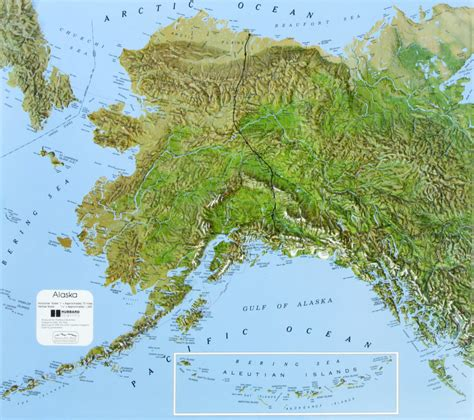 physical map of alaska alaska state raised relief map