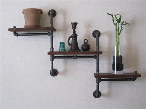 Furniture Recycling by Double Pole Three Tier Walnut Pipe Shelf