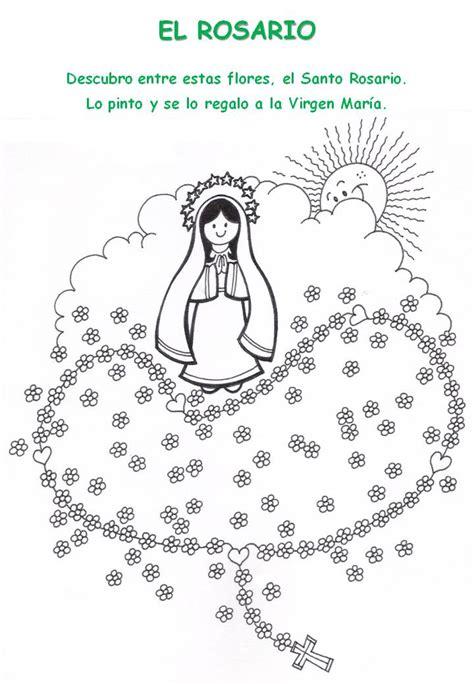 actividades para ninos de la virgen maria para colorear dibujos de la virgen del rosario
