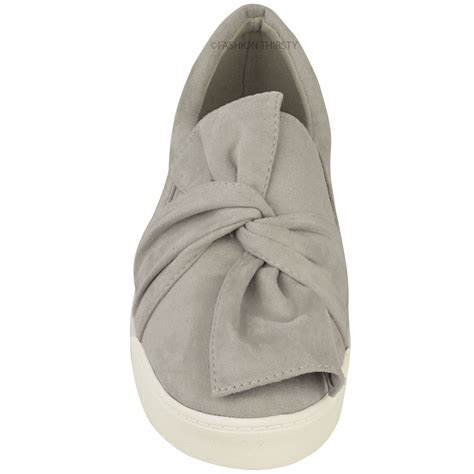 sneakers with a bow new womens trainers faux suede slip on flat bow